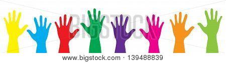 Banner color hands rise up. Vector illustration