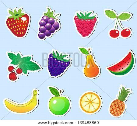 cute cartoon fruit sticker set vector illustration