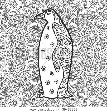 Ornament penguin vector. Beautiful illustration for design, print clothing, stickers, tattoos, Adult Coloring book. Hand drawn animal illustration. lace ornamental