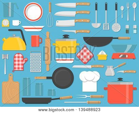 Kitchen tools set. Kitchenware collection. Lots of cooking tools, utensils, cutlery. Flat design icons for web, banners, sites, infographics. Vector illustration