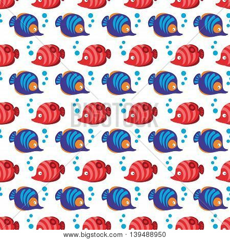 Seamless pattern with tropical fishes and bubbles on white background. Vector illustration.