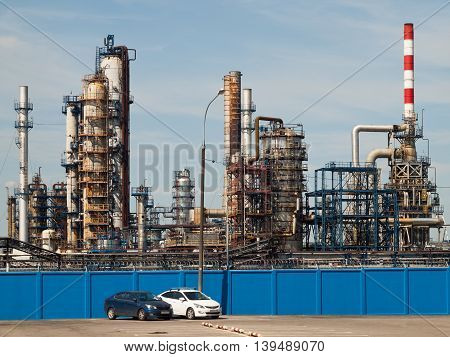 July 2016, Moscow, Russia, view oil refinery in Kapotnya