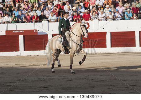 Linares SPAIN- august 31 2011: Spanish bullfighter on horseback Diego Ventura bullfighting on horseback in Linares Spain