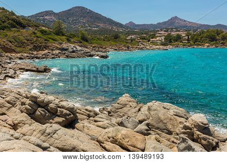 Aquamarine Sea And Rocks At Cala D'olivu Near Ile Rousse In Corsica