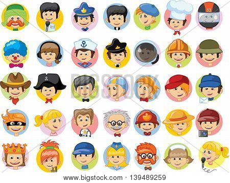 Set of vector cute character avatar icons.