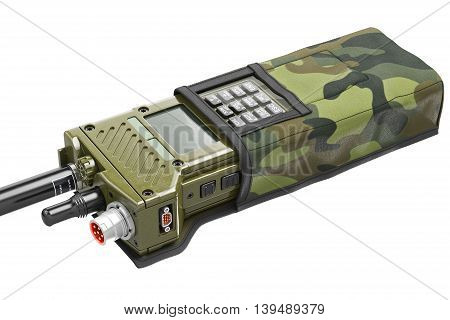 Military walkie-talkie modern digital khaki in cover, close view. 3D graphic