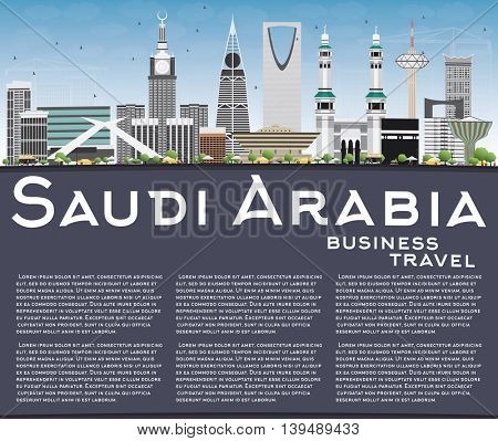 Saudi Arabia Skyline with Landmarks, Blue Sky and Copy Space. Vector Illustration. Business Travel and Tourism Concept. Image for Presentation Banner Placard and Web Site.