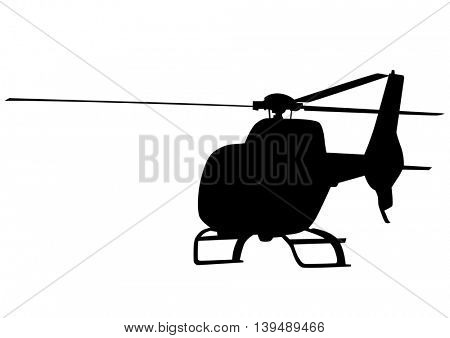 Silhouette of a large helicopter on a white background