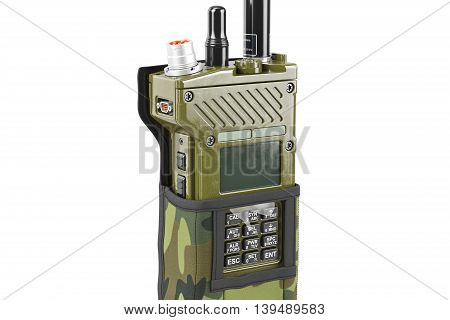 Military radio army portable equipment in cover, close view. 3D graphic