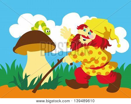 Image of gnome and caterpillar on mushroom. Vector illustration.