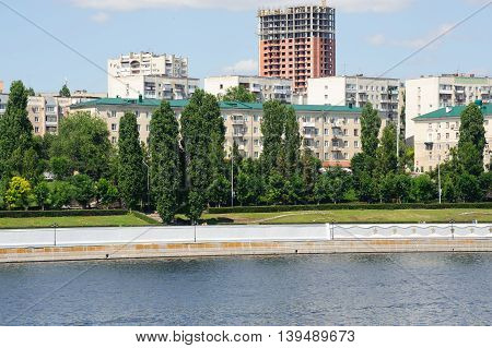 Saratov Russia- June 28 2016. Volga river embankment in Saratov town Russia