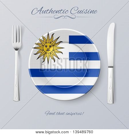Authentic Cuisine of Uruguay. Plate with Uruguayan Flag and Cutlery