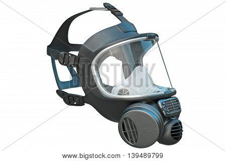 Safety pro mask rubber on locks protection from biohazard. 3D graphic
