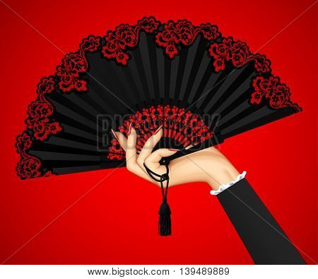 Female hand with open black vintage fan isolated on red light background. 3D illustration. Contains the Clipping Path