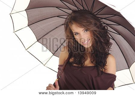 girl with brown umbrella isolated over white