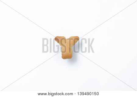English alphabet made from bread. Letters of the British alphabet made of gingerbread. The letter Y