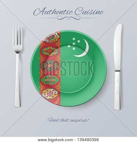 Authentic Cuisine of Turkmenistan. Plate with Turkmenian Flag and Cutlery