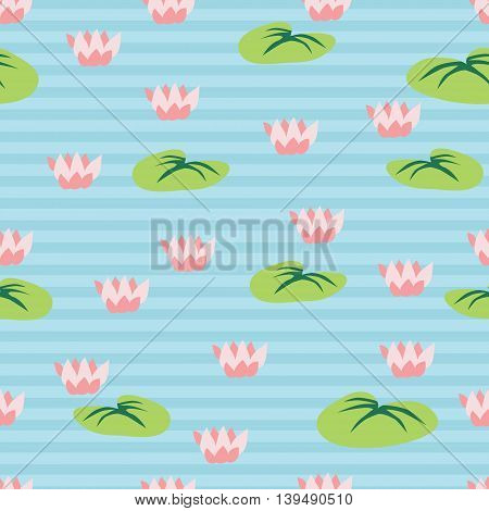 Seamless pattern with lake fulled water lilies. Vector illustration.