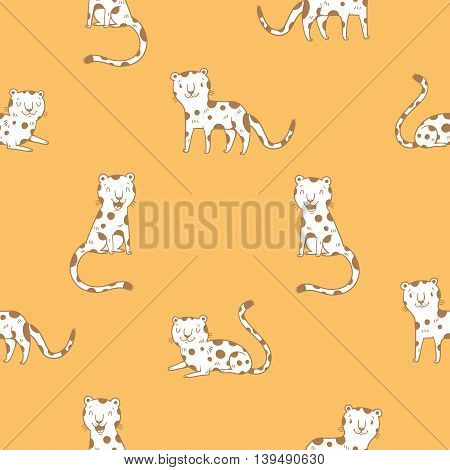Seamless  pattern with cute cartoon leopards on orange background. Funny african animals. Wild cats. Children's illustration. Vector contour  image.