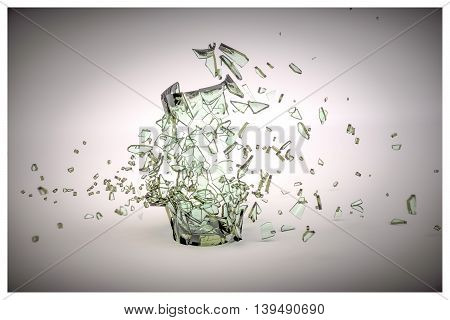 3d illustration of a broken glass isolated on white background