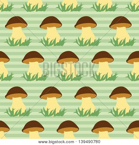 Seamless pattern with porcini on green striped background. Vector illustration.