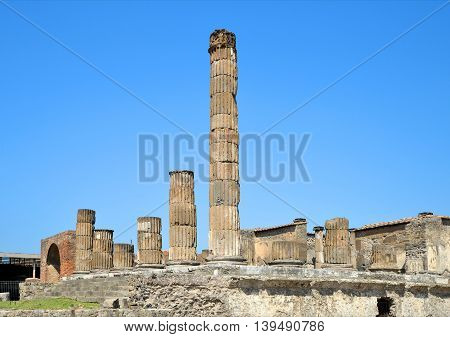 Ancient Roman city of Pompeii, Campania region of Italy.