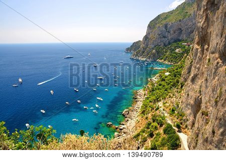 Coastal rocks of Capri island - Italy, Europe