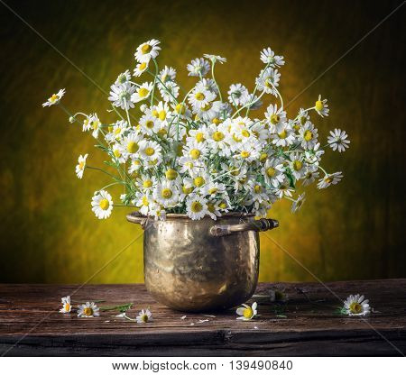 Bouquet of field chamomiles in the vase on the wooden table.