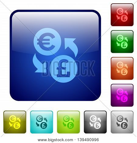Set of Euro Pound exchange color glass rounded square buttons