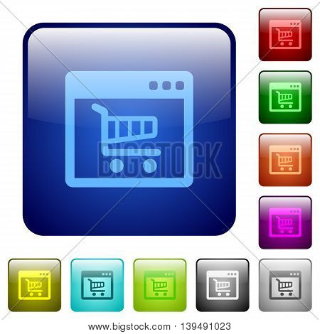 Set of webshop application color glass rounded square buttons