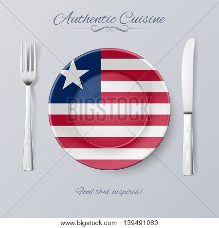 Authentic Cuisine of Liberia. Plate with Liberian Flag and Cutlery
