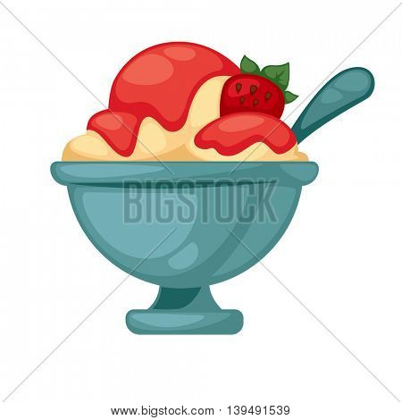 Colorful tasty ice cream. Isolated on white. Vector illustration.
