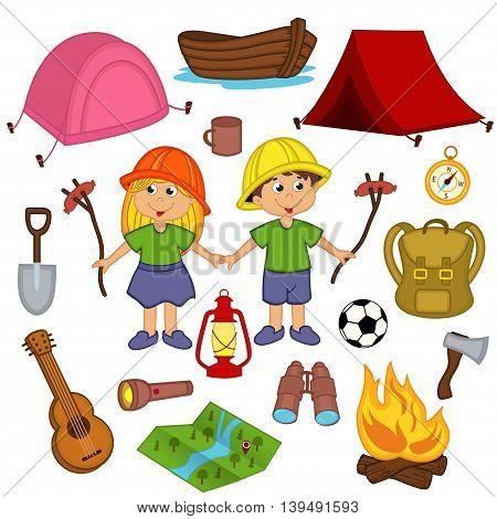 set camping equipment - vector illustration, eps