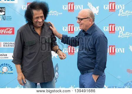 Giffoni Valle Piana SA ITALY - July 16 2016: Musician James Senese and Claudio Gubitosi poses at photocall during the 46th Giffoni Film Festival.