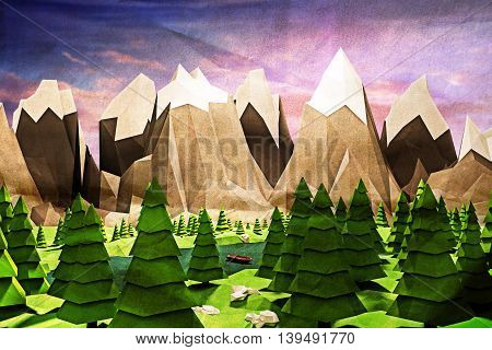 3d illustration of a simple landscape with mountains low poly
