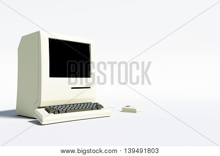 3d illustration of an old computer desktop isolated on white background