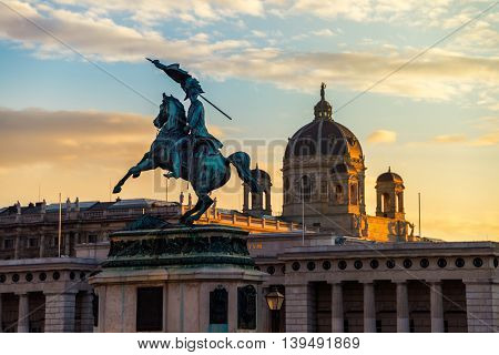 Statue of Archduke Charles - an Austrian field-marshal, on the Heldenplatz in Vienna, Austria at sunset. The square is used for many important ceremonies and actions.