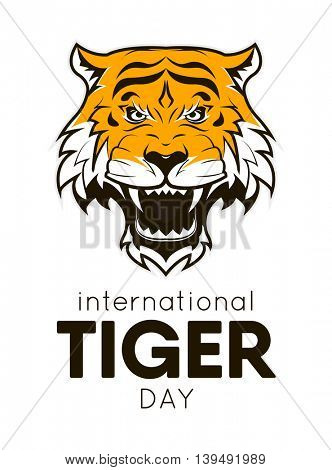 International Tiger day poster template with angry tiger head. Vector Illustration.
