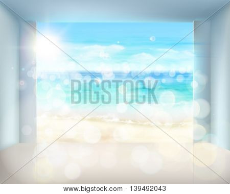 Abstract view on the beach from hotel room. Vector Illustration.