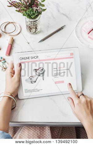 Woman Shopping Online Website Digital Tablet Concept