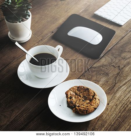 Coffee Cookie Plant Wooden Start Up Breakfast Concept