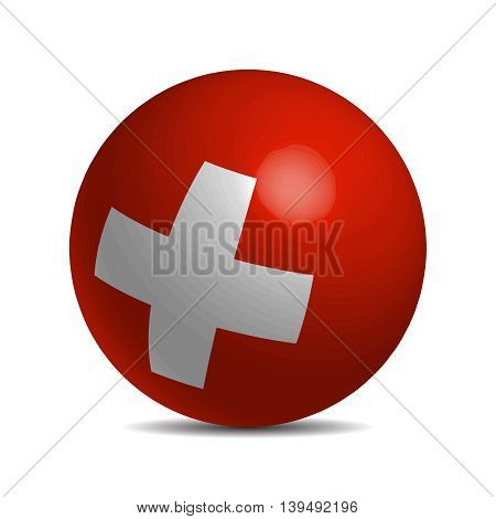 Switzerland flag on a 3d ball with shhadow, vector illustration
