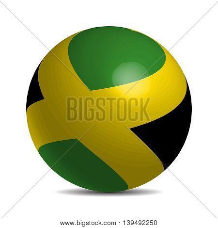 Jamaica flag on a 3d ball with shadow, vector illustration