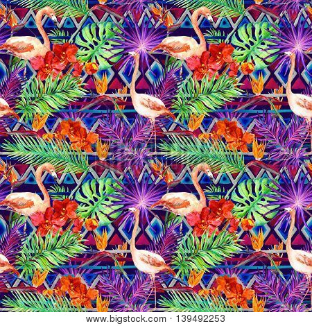 Tribal pattern, tropical leaves and flamingo birds. Exotic orchids and bird of paradise flowers. Repeating jungle pattern. Watercolor