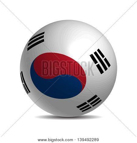 South Korea flag on a 3d ball with shadow, vector illustration