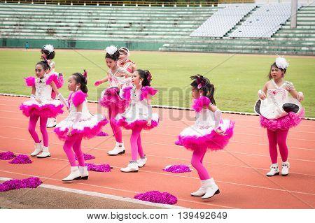 Phuket, Thailand - Jul 13 : Schoolchild Cheerleaders In The Stadium