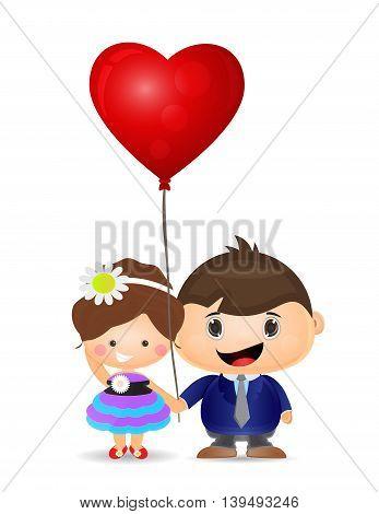 illustration couple boy and girl holding love balloon