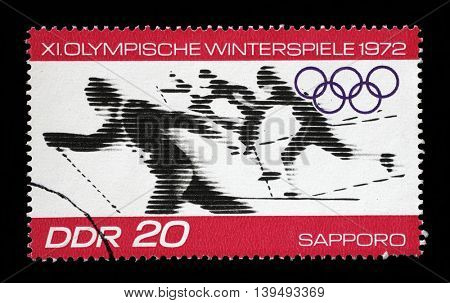 ZAGREB, CROATIA - JULY 03: A stamp printed in GDR shows Winter Olympic Games - Sapporo, Japan, circa 1971, on July 03, 2014, Zagreb, Croatia