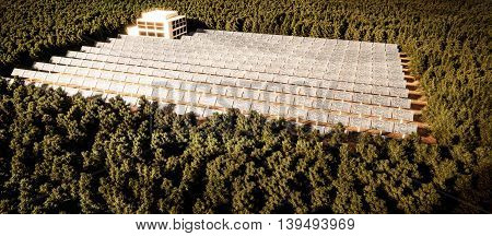 3d illustration of a huge solar plant