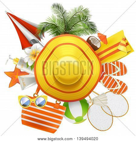 Vector Beach Accessories with Hat isolated on white background